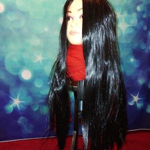 Long straight black wig #615
